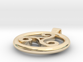 Triskell Positve Hole Pendant in 14k Gold Plated Brass