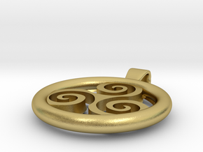 Big Triskell Positve Hole Pendant in Natural Brass