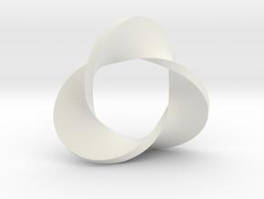 Trefoil moebius - pendant in White Premium Versatile Plastic