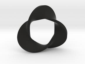 Trefoil moebius - pendant in Black Premium Versatile Plastic