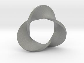 Trefoil moebius - pendant in Gray PA12