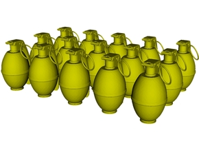 1/16 scale M-26 fragmentation grenades x 15 in Smooth Fine Detail Plastic