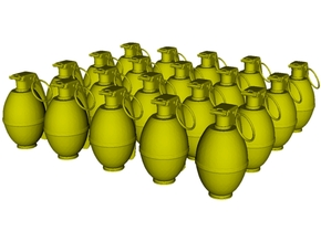 1/20 scale M-26 fragmentation grenades x 20 in Smooth Fine Detail Plastic