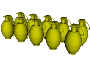 1/20 scale M-26 fragmentation grenades x 10 in Smooth Fine Detail Plastic