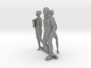 HO Scale Standing People 9 in Gray Professional Plastic
