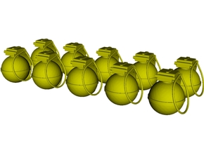 1/16 scale V-40 mini fragmentation grenades x 10 in Smooth Fine Detail Plastic