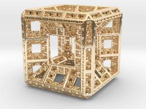 Fractal Hypercube Pendant in 14K Yellow Gold