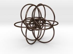 24-cell, stereographic projection, steel in Polished Bronze Steel