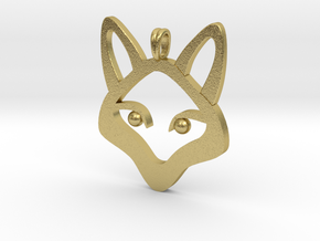 Small Fox 14K Gold Jewelry Necklace  in Natural Brass