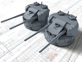 "1/96 5.25""/50 (13.4 cm) QF Mark I Guns 1943 x2 in Smooth Fine Detail Plastic"