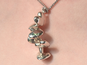 1 up to 55 hearts/ pendant series in Polished Silver