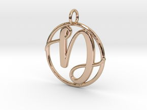 Cursive Initial D Pendant in 14k Rose Gold