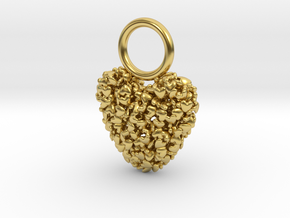 365 Hearts Charm  in Polished Brass