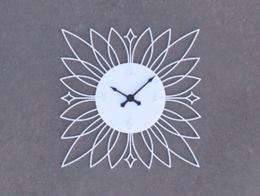 Sunburst Clock - Blossom in White Natural Versatile Plastic
