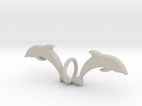 Twin Dolphin Pendant in Natural Sandstone: Medium
