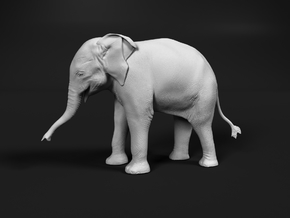 Indian Elephant 1:12 Standing Female Calf in White Natural Versatile Plastic