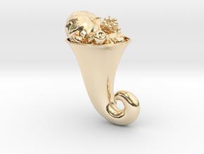 Thanksgiving Cornucopia Brooch in 14k Gold Plated Brass