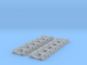 Steel Coil Cradles (12, joined) - N Scale in Smooth Fine Detail Plastic