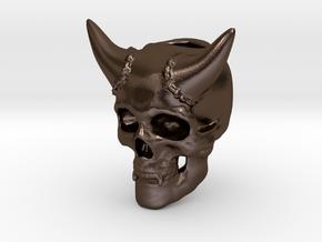 Skull Lanyard Bead in Polished Bronze Steel