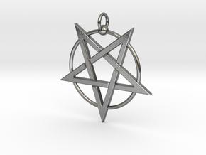 last pentagram3updatedver2 in Polished Silver