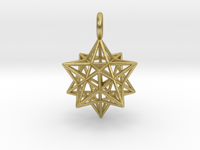 Stellated Dodecahedron 23mm in Natural Brass