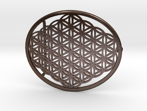 Flower of Life belt buckle in Polished Bronze Steel