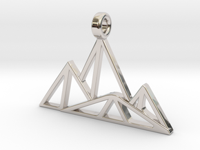 Geometric Mountain Pendant in Rhodium Plated Brass