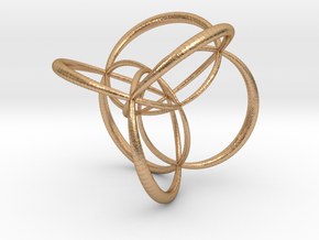 16-cell, stereographic projection 2, thick edges in Natural Bronze