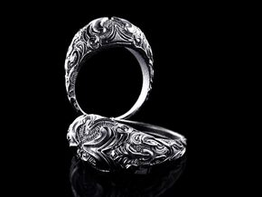 "Sculpted Dome ring ""Domus"" in Antique Silver"