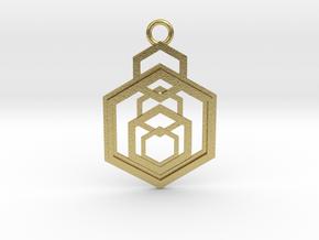 Geometrical pendant no.9 in Natural Brass: Medium