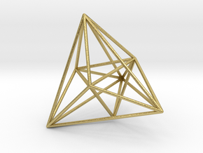 16-cell, perspective projection in Natural Brass