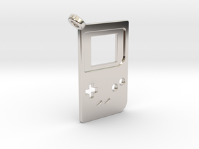 Gameboy Classic Styled Pendant in Rhodium Plated Brass
