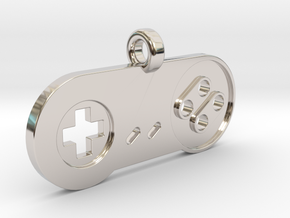 SNES Controller Styled Pendant in Rhodium Plated Brass