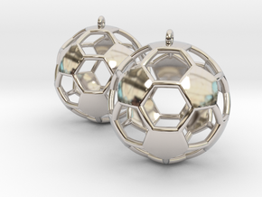 Pair of Soccer Ball Earrings in Rhodium Plated Brass