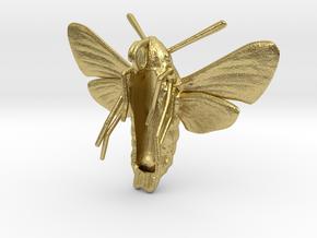 Hummingbird Hawk-Moth Pendant (hollow version) in Natural Brass