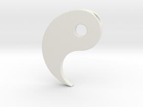 Yin Yang Pendant - Part 1 in White Natural Versatile Plastic