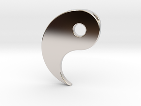 Yin Yang Pendant - Part 1 in Rhodium Plated Brass