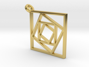Geometric Squares Pendant in Polished Brass
