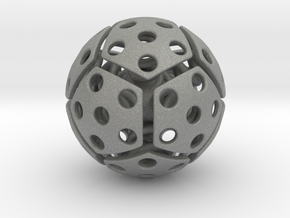 bouncing cat toy ball perforated size S in Gray PA12: Small