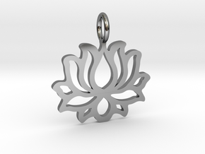 Lotus flower pendant in Fine Detail Polished Silver