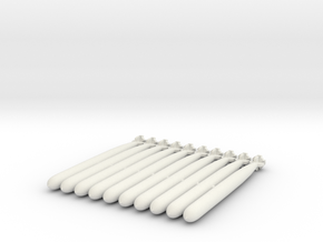 Torpedoes, 10 Small in White Natural Versatile Plastic