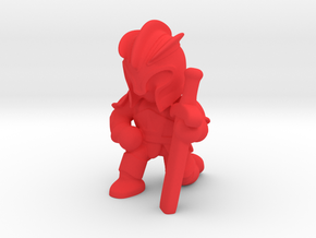 Kneeling Knight  in Red Processed Versatile Plastic