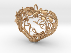 Heart Branches - Ornament in Natural Bronze (Interlocking Parts): Small