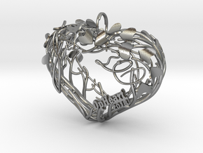Heart Branches - Ornament in Natural Silver: Small