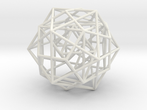 Nested Platonic Solids -round struts in White Natural Versatile Plastic