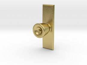 Door Knob with backing plate in 1:6 scale in Natural Brass