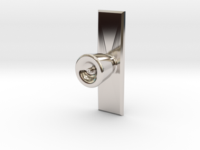 Door Knob with backing plate in 1:6 scale in Rhodium Plated Brass