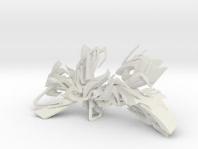 DEIM graffiti sculpture in White Natural Versatile Plastic: Medium