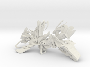 DEIM graffiti sculpture in White Natural Versatile Plastic: Medium