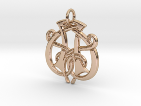Monogram Initials AA.1 Pendant  in 14k Rose Gold